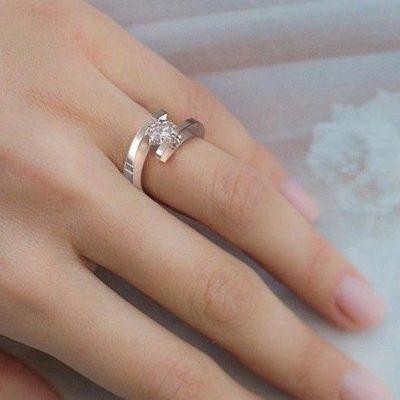 2CT Fancy Princess Cut Diamond  Engagement Ring Set 925 Sterling Silver