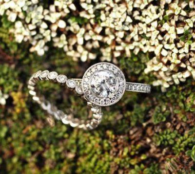 Bezel Round Cut Halo Diamond Engagement Wedding Ring Band Set 925 Sterling Silver