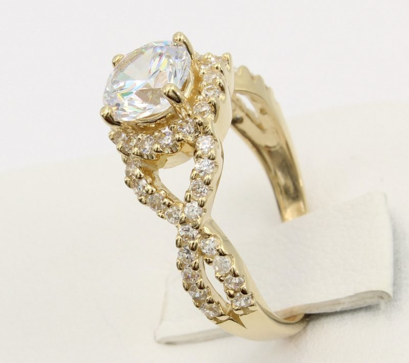 Forever 1.88Ct Round Moissanite Twisted Wedding Engagement Ring Solid 14k Yellow Gold