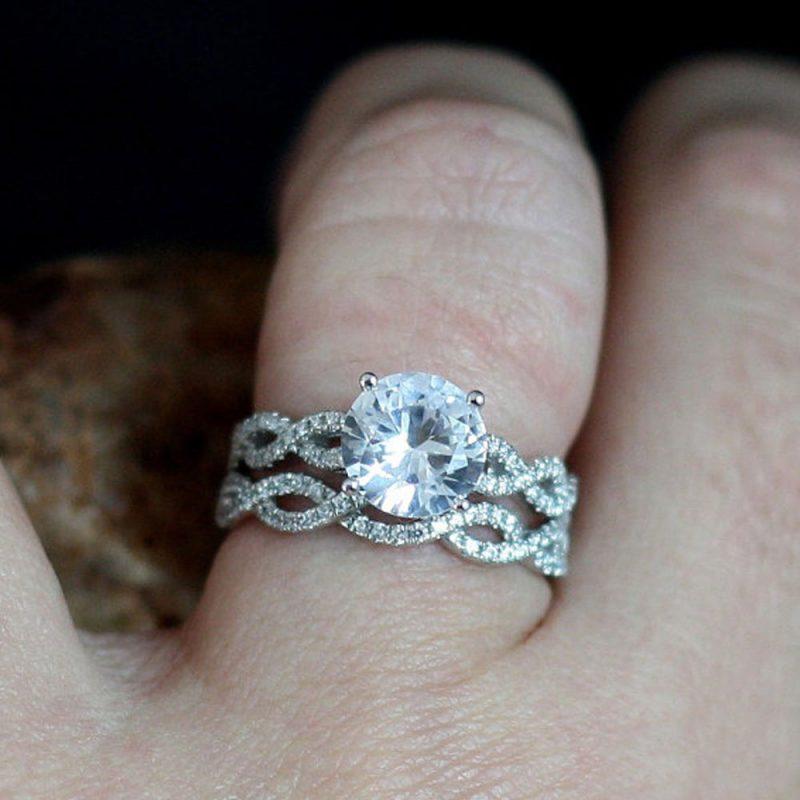 1.80Ct White Moissanite Solitaire Twistde Bridal Wedding Ring Set 14K White Gold