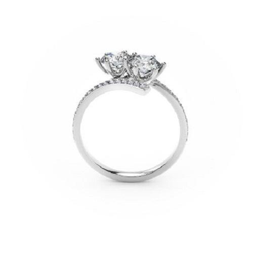 Forever 1.80Ct Off White 2 Moissanite Stone Engagement Wedding 14K White Gold