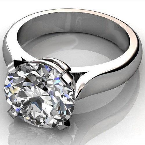 Huge 2.15Ct Real White Moissanite Engagement Wedding Ring 14K White Gold