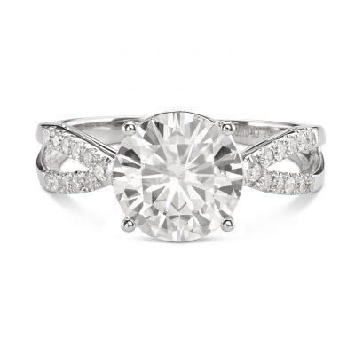 1.72Ct Round Cut Moissanite Split Shank Engagement Wedding Ring 14k White Gold