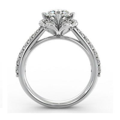 1.87Ct White Moissanite Diamond Flower Halo Engagement Wedding Ring 14k White Gold