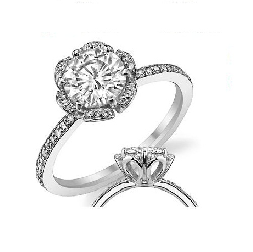 1.87Ct White Moissanite Diamond Flower Halo Engagement Wedding Ring 14k White Gold