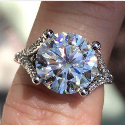 2.15Ct Brilliant Cut Moissanite Split Shank Engagement Wedding Ring 14k White Gold