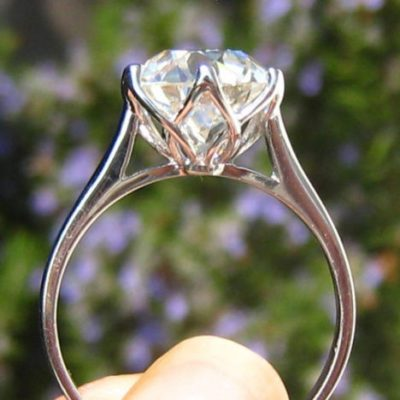 2Ct Excellent Cut White Moissanite Solitaire Engagement Promise Ring 14k White Gold