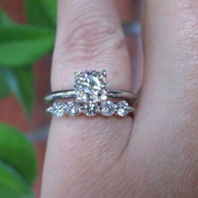 Certified 2.15Ct Brilliant Moissanite Bridal Wedding Matching Ring Set Solid 14k White Gold