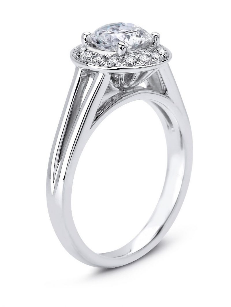 1.60Ct Round Cut White Moissanite Engagement Wedding Ring Solid 14k White Gold