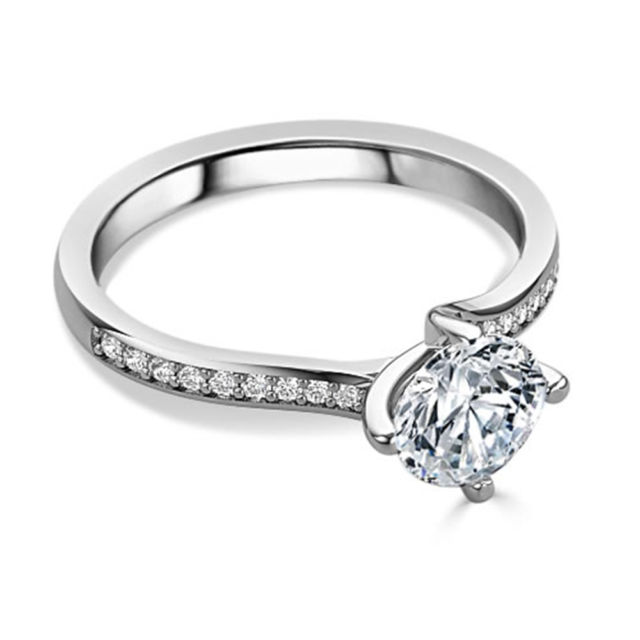 Fancy 1.50Ct Solitaire Moissanite Engagement Wedding Ring Solid 14k White Gold