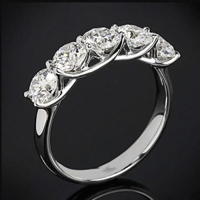 2.Ct Brilliant Cut Moissanite 5 Stone Engagement Wedding Ring Solid 14k White Gold