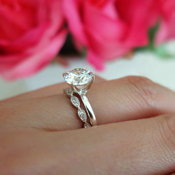 1.80Ct White Moissanite Solitaire Bridal Engagement Ring Set Solid 14k White Gold