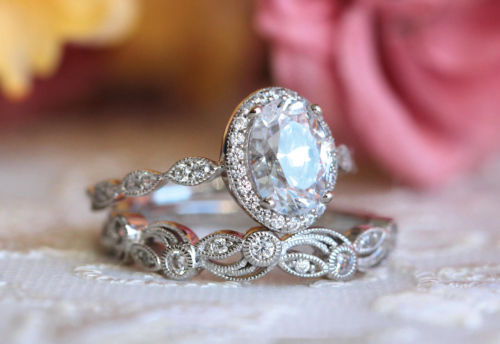 1.62Ct Real Round Cut Moissanite Bridal Wedding Ring Set 925 Sterling Silver