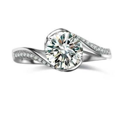 Simple & Fancy 1.58Ct Moissanite Diamond Engagement Promise Ring 925 Sterling Silver