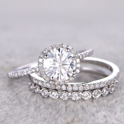 1.76Ct Round Cut White Moissanite Engagement Wedding Ring Set 925 Sterling Silver