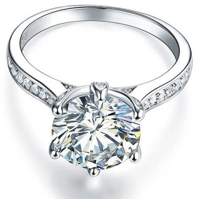 1.55Ct Round White Moissanite Engagement Wedding Ring Solid 925 Sterling Silver