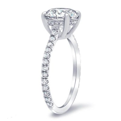 Huge 2.10Ct Solitaire Moissanite Classic Engagement Wedding Ring Solid 925 Sterling Silver