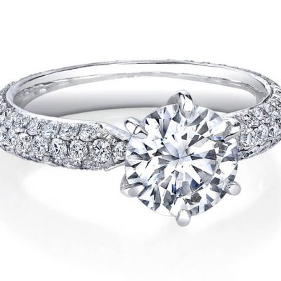 1.70Ct Center Round Moissanite & Three Row Pave Diamond Engagement Ring 925 Sterling Silver