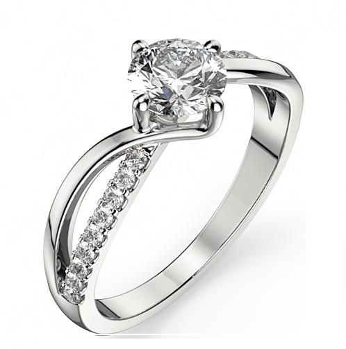 Fancy 1.58Ct Brilliant Cut Moissanite Engagement Promise Ring Solid 925 Sterling Silver