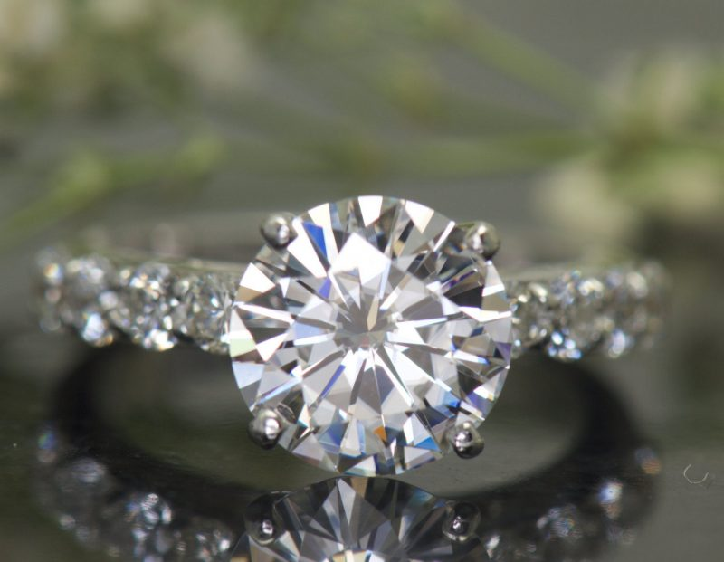 2.25Ct Brilliant Moissanite With Side Stone Engagement Wedding Ring 925 Sterling Silver