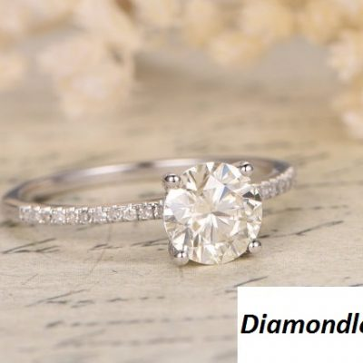 1.88Ct Round White Moissanite Solitaire Engagement Wedding Ring 925 Sterling Silver