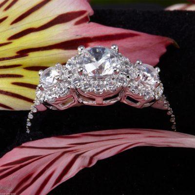 2.Ct Brilliant 3 Stone White Moissanite Halo Engagement Wedding Ring 14k White Gold