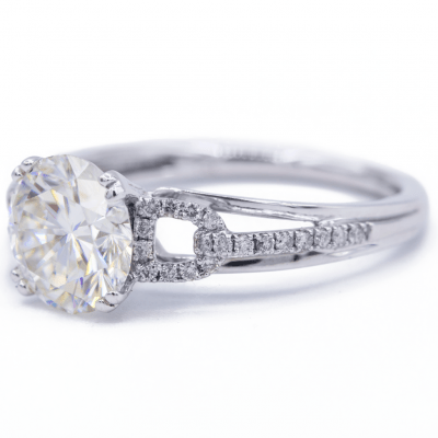 2.10Ct Brilliant Cut Real Moissanite Wedding Engagement 2 Ring Set Solid 14k White Gold