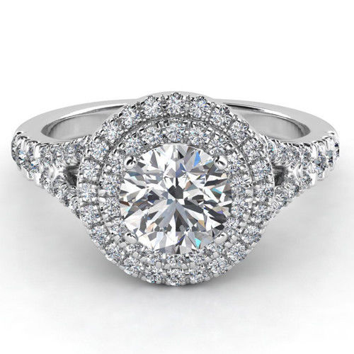 1.78Ct Real Round White Moissanite Double Halo Engagement Ring Solid 14k White Gold