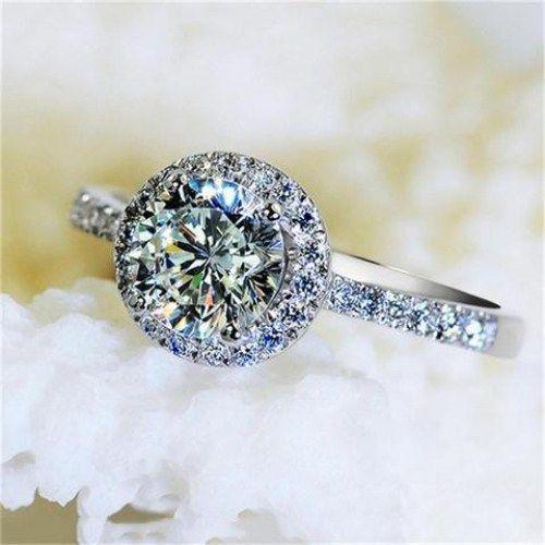 2.Ct Gorgeous Round Cut White Moissanite Diamond Engagement Ring 14k White Gold
