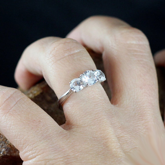 2.Ct Real White Solitaire 3 Stone Moissanite Engagement Promise Ring 14k White Gold