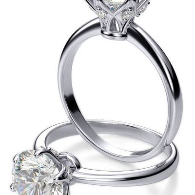 Certified 2.10Ct Round White Moissanite Solitaire Engagement Ring Solid In 14k White Gold