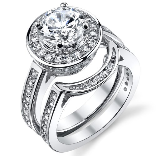 Certified 2.30Ct Round White Moissanite Hlo Engagement Ring Set Solid In 14k White Gold