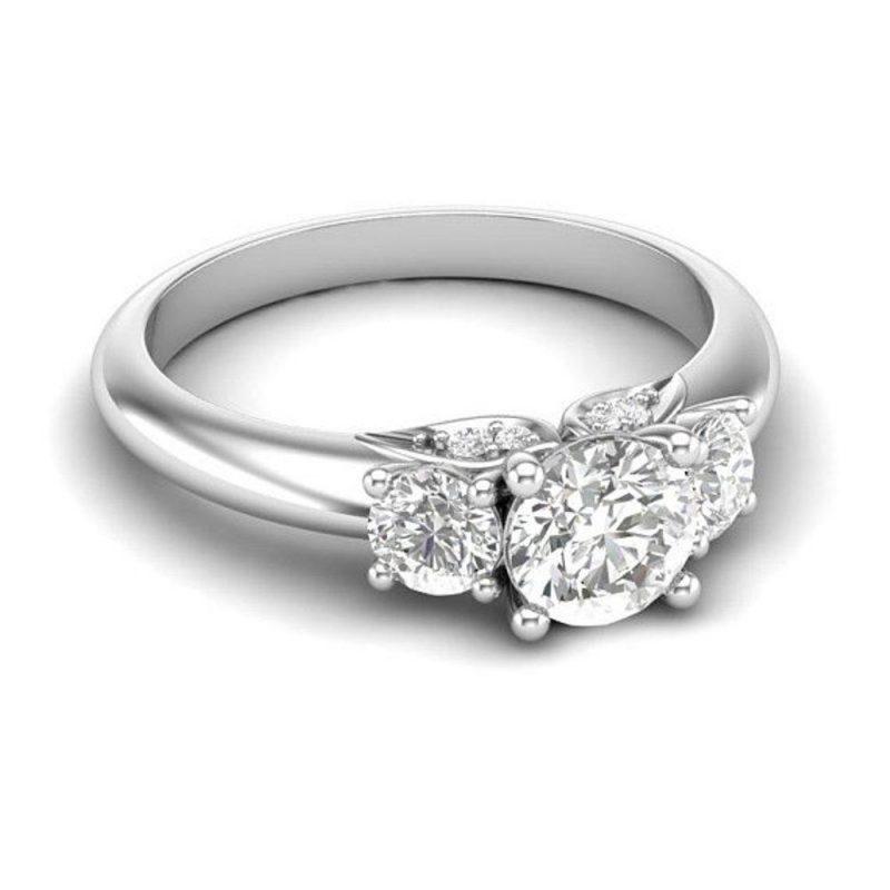 2.Ct Forever 3 Stone White Moissanite Bridal Wedding Ring Solid In 14k White Gold
