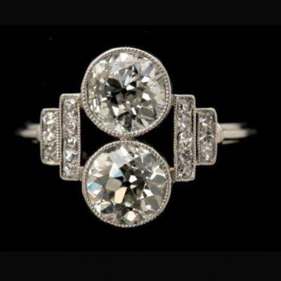 Bezel Style 1.88Ct Round Moissanite Forever 2 Stone Engagement Ring Solid 14k White Gold