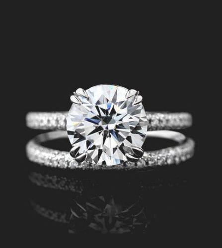Certified 2.10Ct Round Cut Moissanite Micro Pave Diamond Wedding Ring Set Solid 14k White Gold