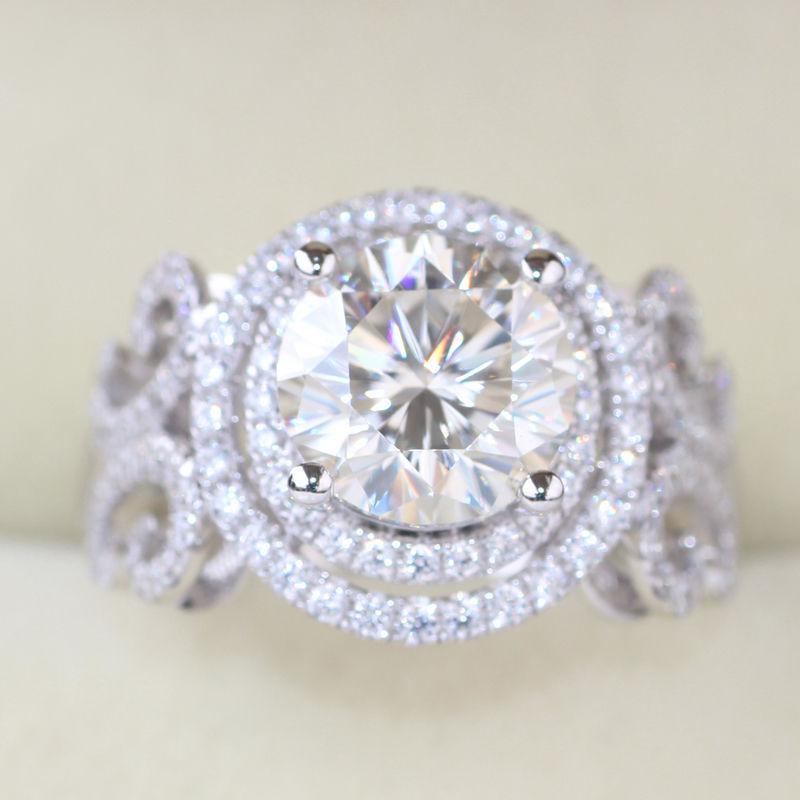 Unique 1.80Ct Round White Moissanite Engagement Wedding Ring 14k White Gold