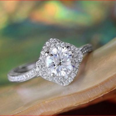 Certified Fancy 1.58Ct Brilliant White Moissanite Engagement & Promise Ring Solid 14k White Gold