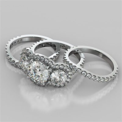 2.00 Ct Forever 3 Moissanite Stone Bridal Wedding 3 Ring Set Solid In 925 Sterling Silver