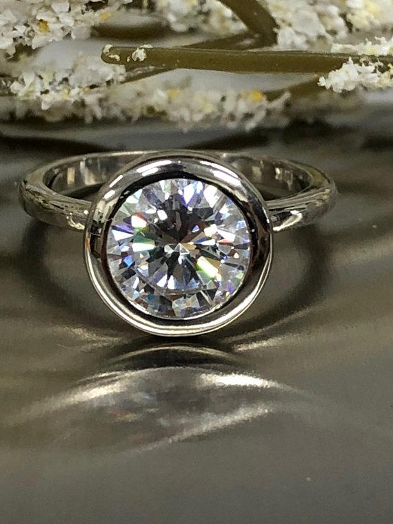 Bezel 2.Ct Brilliant Moissanite 925 Sterling Silver Wedding Engagement Ring Solid