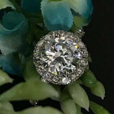 1.88Ct Round Cut White Moissanite Flower Halo Engagement Ring 925 Sterling Silver