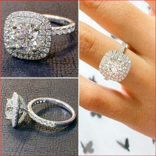 1.85Ct Round White Moissanite Cushion Shaped Engagement Ring 925 Sterling Silver