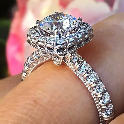 1.90Ct Forever Brilliant Cut Moissanite Diamond Engagement Ring 925 Sterling Silver
