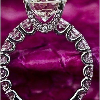 2.25Ct Brilliant White Moissanite & Side Stone Engagement Promise Ring 925 Sterling Silver