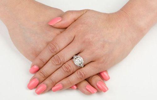 Bezel 1.60Ct Round Moissanite Art Deco Engagement Wedding Ring 925 Sterling Silver