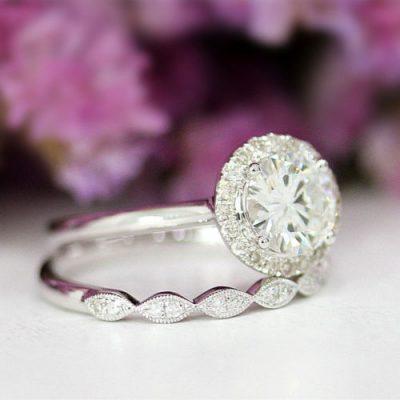 1.60Ct Round Moissanite Diamond Luxury Bridal Wedding Ring Set 925 Sterling Silver