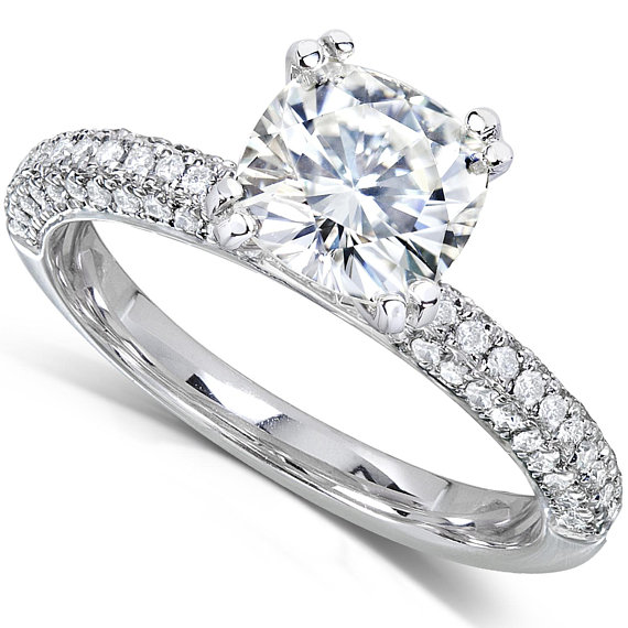 1.85ct Brilliant Cushion Cut Diamond Pave Engagement Wedding Ring 925 Sterling Silver