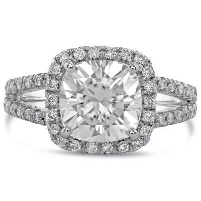 1.82Ct Cushion Cut Diamond Split Shank Engagement Wedding Ring 925 Sterling Silver