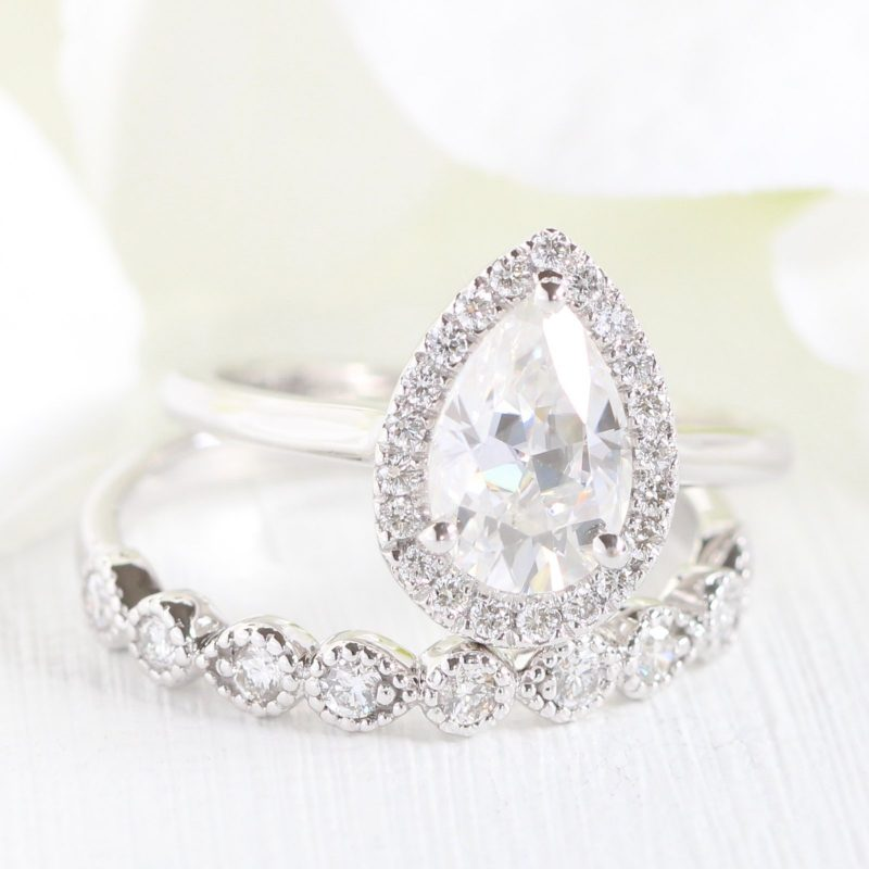 1.80Ct Brilliant Pear Diamond Wedding Engagement 2 Pieces Ring 925 Sterling Silver