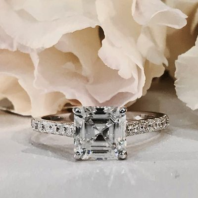 2.30Ct Asscher Cut Diamond Solitaire Engagement Wedding Ring 925 Sterling Silver