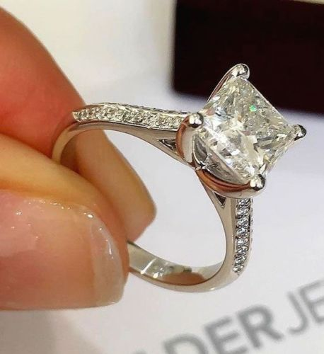 1.92ct Excellent Princess Cut Diamond Engagement Propose Ring 925 Sterling Silver